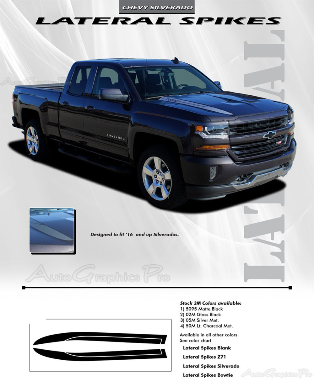 Chevy Silverado LATERAL SPIKES Double Hood Spear Hood - Chevy decals for trucksmore decalchevrolet silverado rally edition unveiled