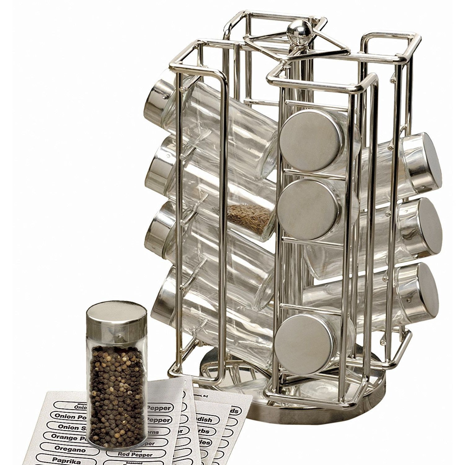 Eliminate Cabinet Clutter With The RSVP 16 Bottle Revolving Spice Rack.  Made Of Stainless Steel