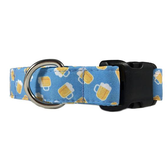 Beer Dog Collar Blue Male Dog Collar Beer Print Funny Dog Collar