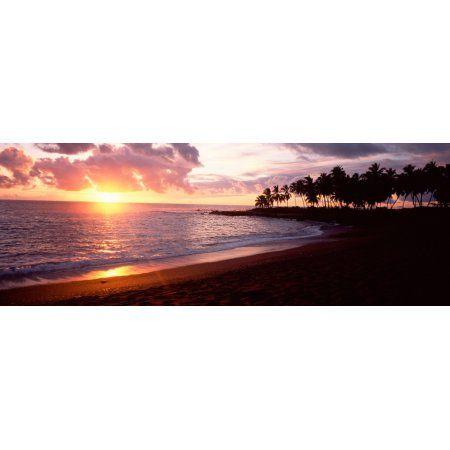 Sea at sunset Honomalino Beach Hawaii USA Canvas Art - Panoramic Images (36 x 12)