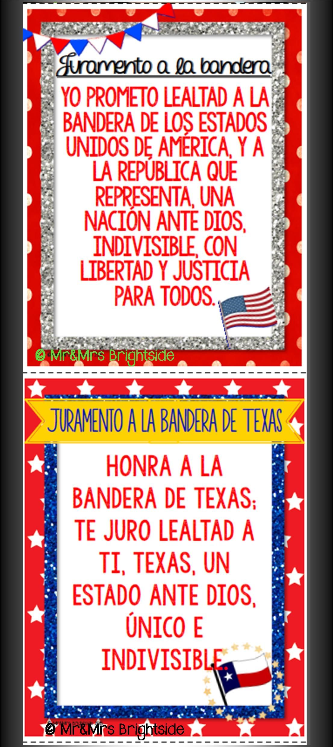 The Pledge Of Allegiance And The Pledge To The Texas Flag Come In English And Spanish And Are Great A Dual Language Classroom Bilingual Classroom Dual Language