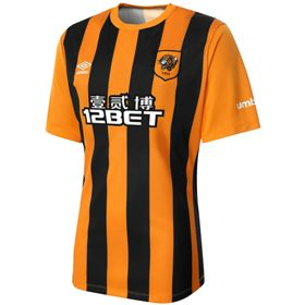 Umbro Hull City Afc 2014 15 Home Jersey Orange Black In2sports Hull City Sports Shirts Premier League Teams