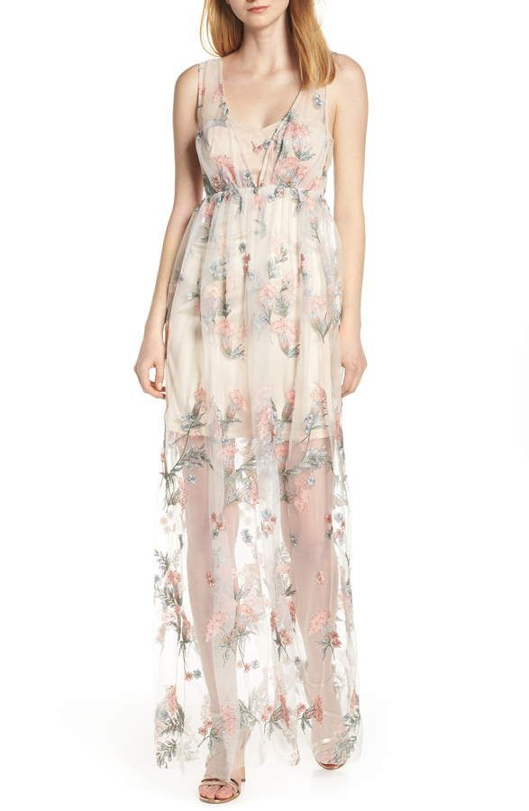 738c38be040 Women s Avec Les Filles Floral Embroidered Maxi Dress