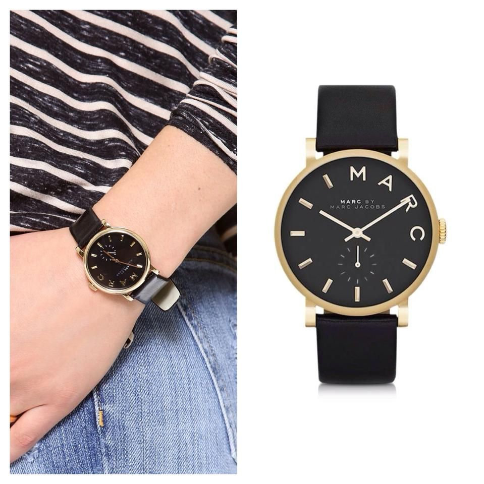 Increase the luxe factor of any look with a contemporary timepiece like Marc by Marc Jacobs' Baker watch. The gold-toned case, oversized black dial and sleek leather strap give it a cool, contemporary edge. http://ldjstore.com/collections/watches/products/baker-4
