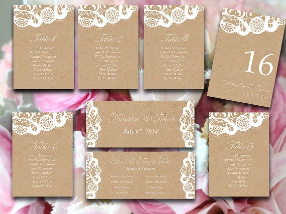 Vintage Lace Wedding Seating Chart Template Download - Kraft - number chart template