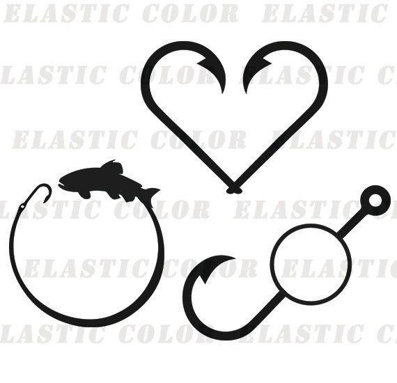 Fish Monogram Svg Fish Hook Monogram Clipart Digital Etsy Monogram Svg Clip Art Monogram
