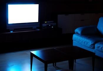 Dark Room With A Bright Tv