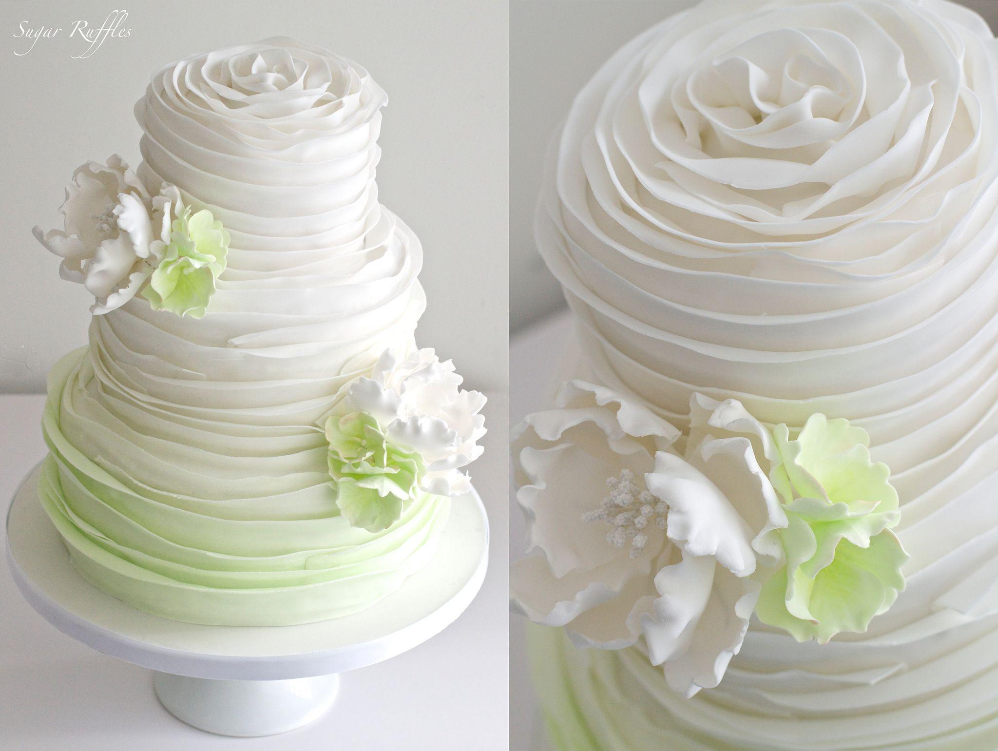 Green Ombre Ruffle Wedding Cake   Wedding cake, Cake and Sugaring