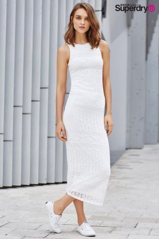 0037c6afa Buy Superdry Optic White Crochet Knit Maxi Dress from the Next UK ...