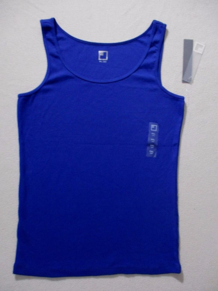d62b933c429143 JCP Women Top PM Blue Solid Casual Tank Cotton Spandex 1738  JCPenney   TankCami  Casual
