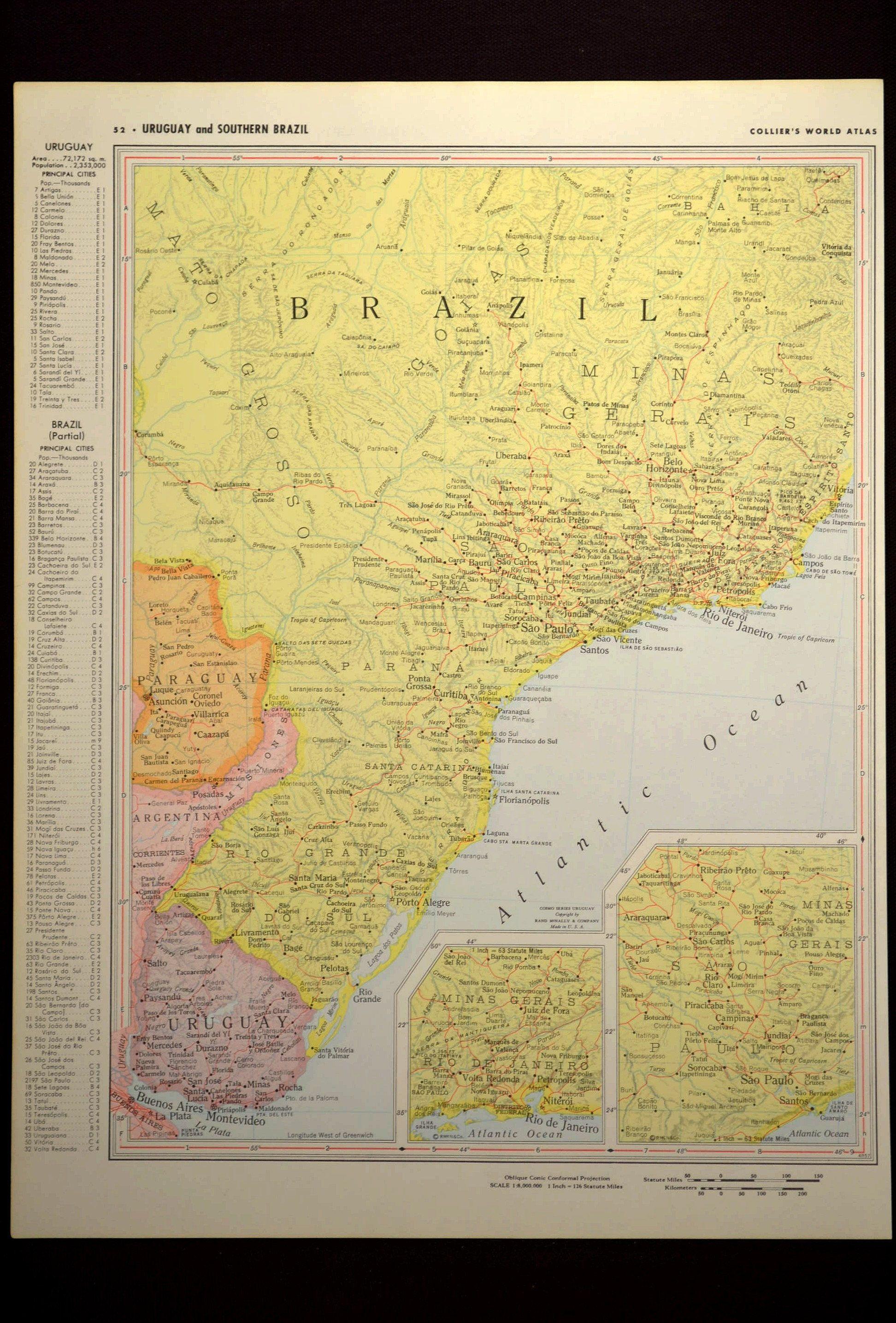 Brazil Map Brazil Rio De Janeiro Map Vintage Yellow | Map Wall Decor ...