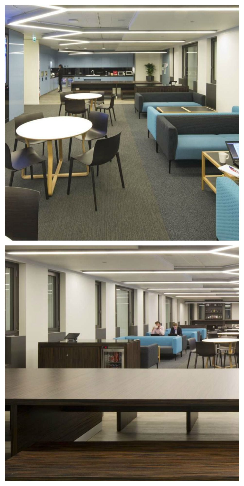 This Cool Staff Breakout Space And Workplace Kitchen At Financial Company AT Kearney Has Charcoal Grey Teal Coloured Sofas Cafe Style Seating
