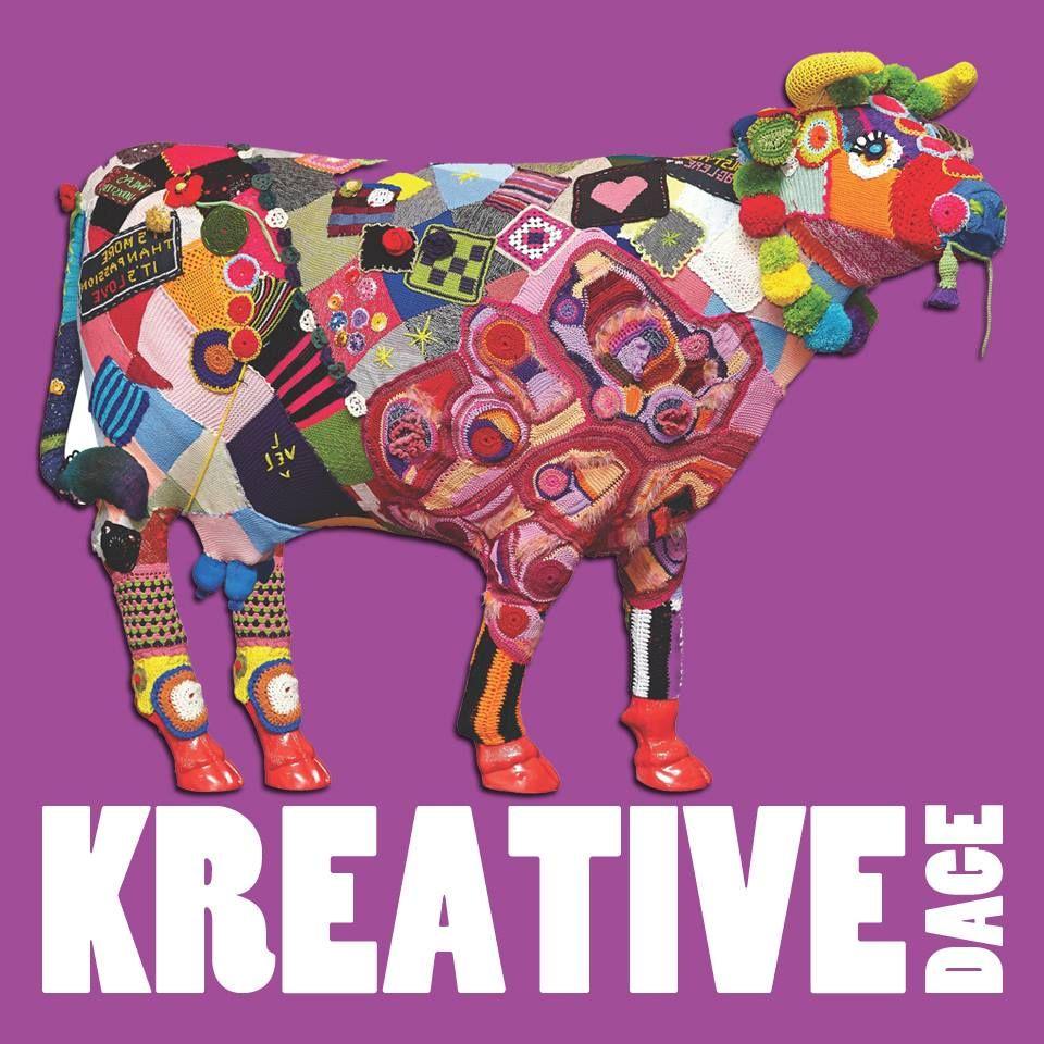 Violas Værksted strikkegraffiti. Værk fra 2013. Nu som logo for Kreative Dage Fredericia 2015.