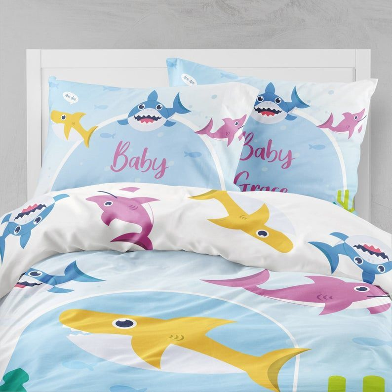 baby shark bedding set personalized bed