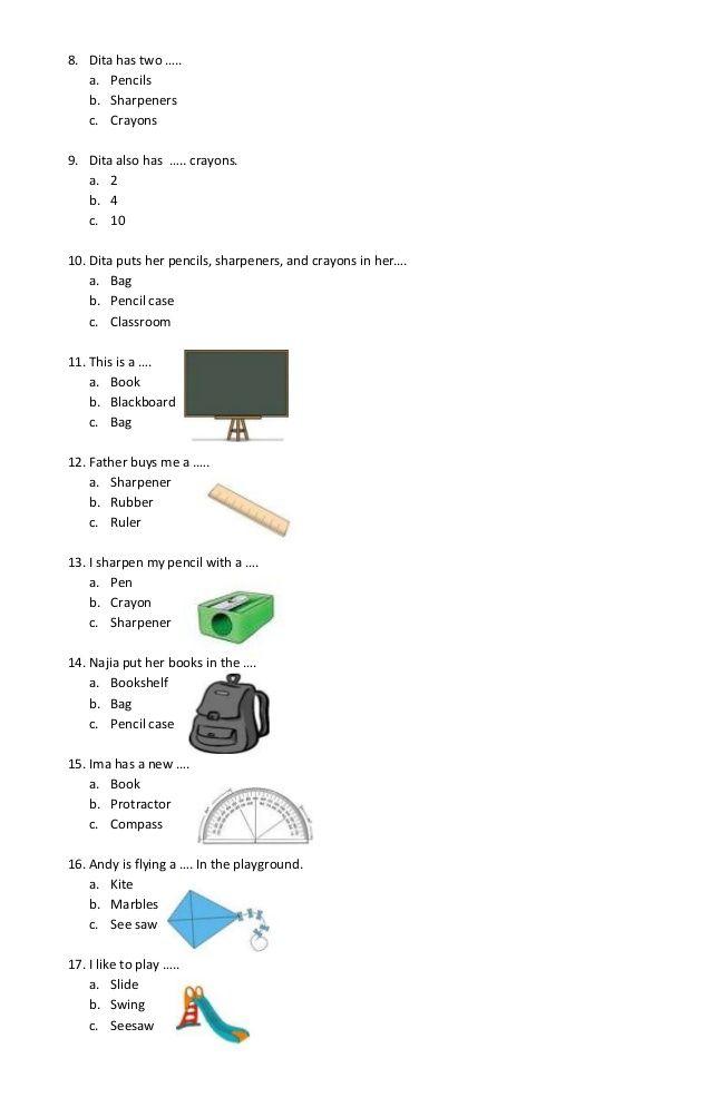 Contoh soal pilihan ganda bahasa inggris vocabulary beserta kunci jawaban untuk tingkat sd dikupas lengkap oleh ibi. 8 Ide Latihan Untuk Bahasa Inggris Bahasa Inggris Bahasa Inggris