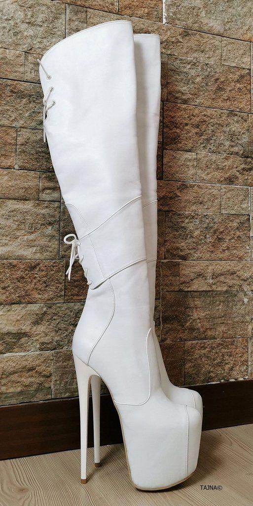 White Matte Over Knee Heel Boots