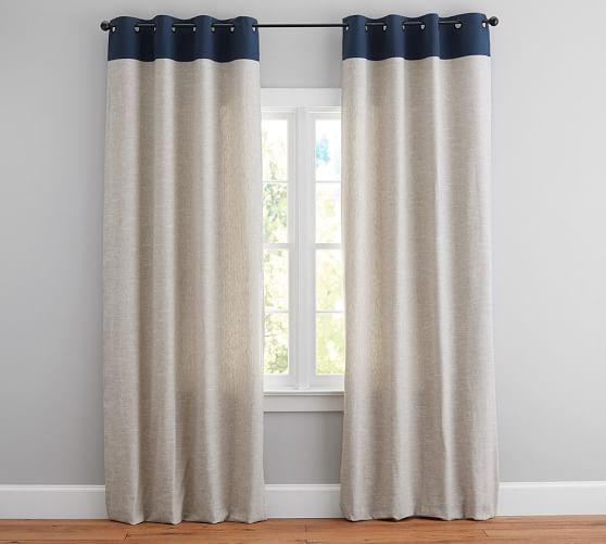 Emery Border Linen Cotton Grommet Curtain Gray Charcoal Linen