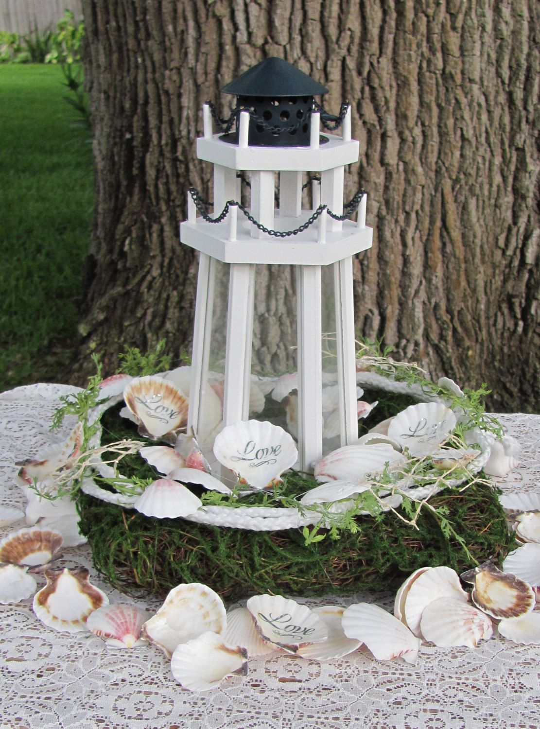 Wedding Centerpieces Lighthouse Ideal For Wedding Reception Table  Centerpieces LightHouse Love Centerpiece Optional Love Shells And