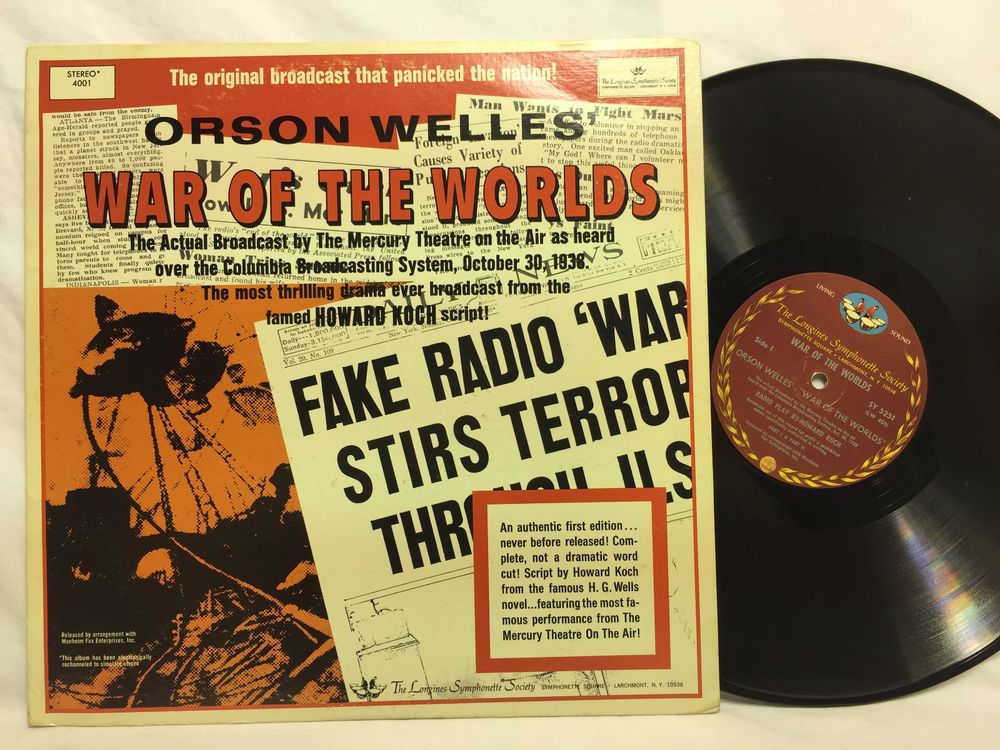 Orson Welles War Of The Worlds Original Broadcast 2lp Vinyl Record Columbia Vinyl Records War Of The Worlds Vintage Records