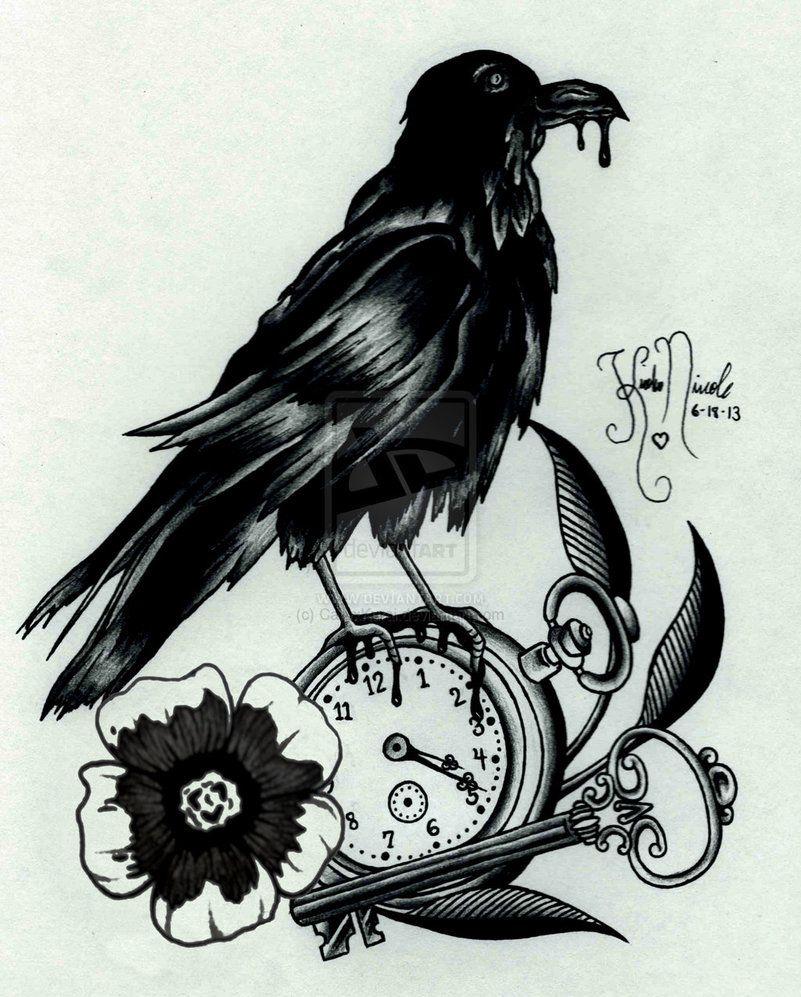 23 Raven Tattoo Designs Ideas: Gothicraven_tattoo_design_by_cailyxkurai-d6an29x.jpg (801