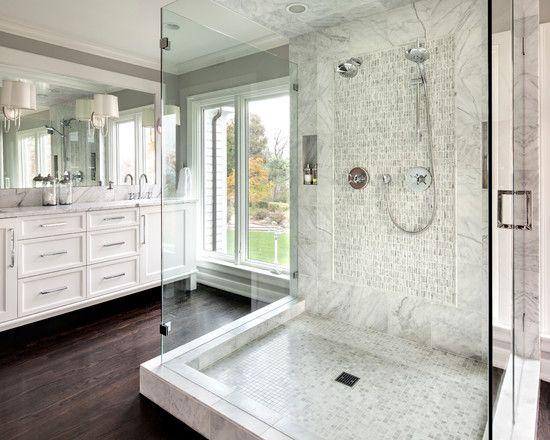 outstanding master bathroom shower | 21 Outstanding Transitional Bathroom Design | White ...