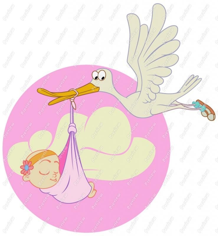 free clip art | Stork With Baby Girl Clip Art - Royalty ...