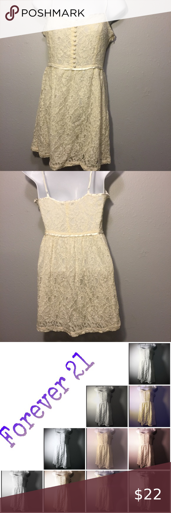Forever 21 Ivory Lace Midi dress. Small Petite