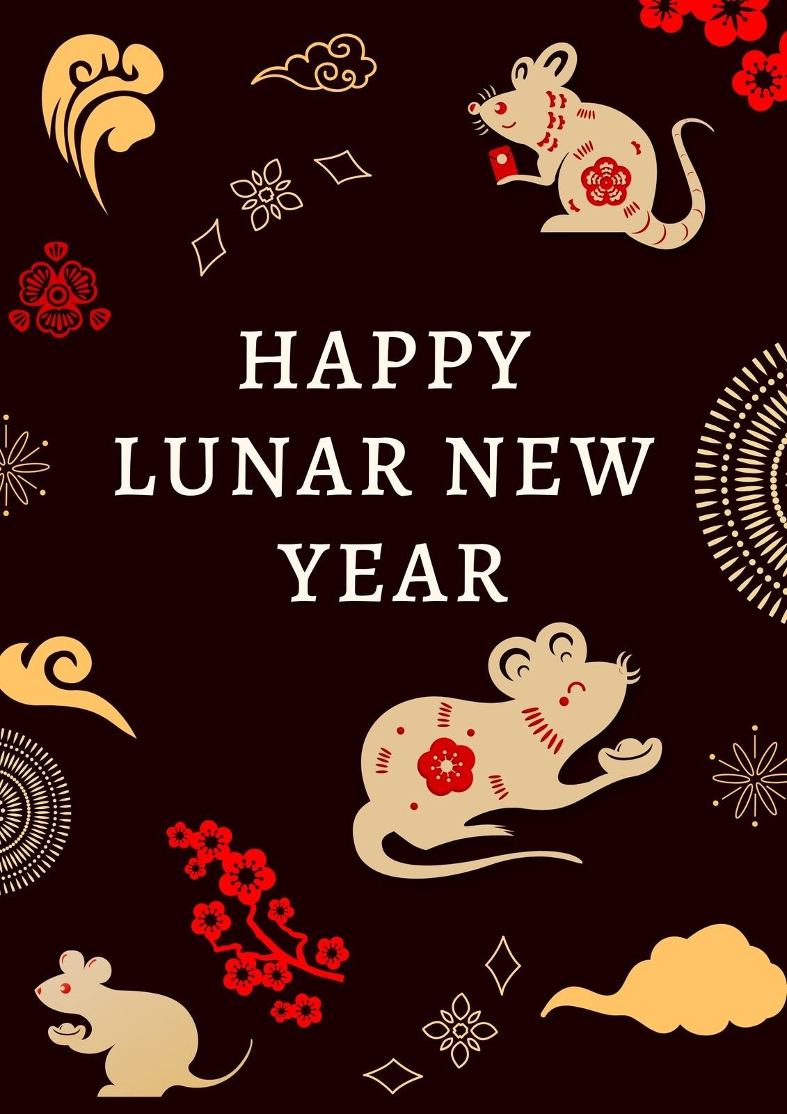 Black Brown And Red Illustration Lunar New Year Poster Templates By Canva Ad Red Sponsored Happy Lunar New Year Free Website Templates New Years Poster