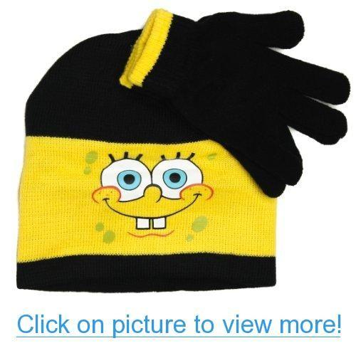 a8b5f8cc79e75 Nickelodeon Spongebob Squarepants Winter Beanie Hat and Gloves Set ...