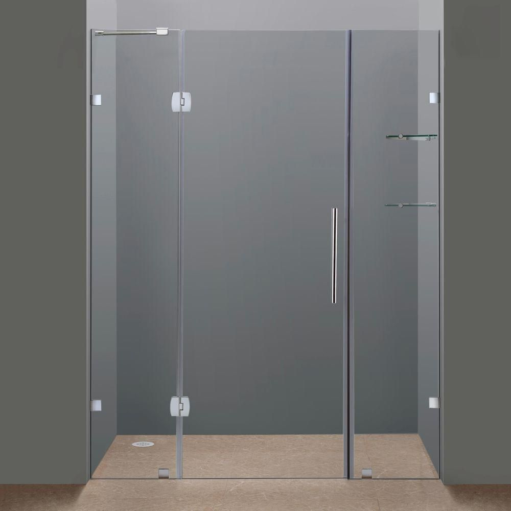 Aston Soleil 60 In X 75 In Completely Frameless Hinged Shower Door In Chrome With Glass Shelves Sdr983 Ch 60 6 The Home Depot Shower Doors Frameless Shower Doors Glass Shower Doors