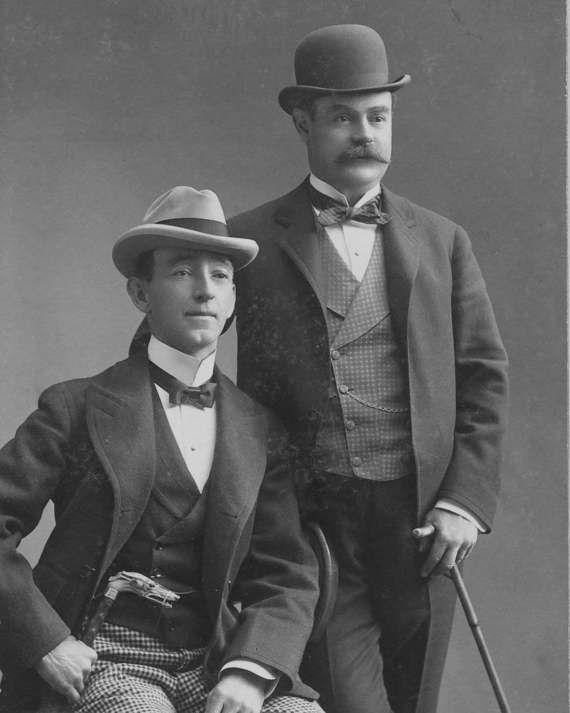 Two Men Vintage Male Mustache Hats Edwardian by EclecticForest #edwardianperiod