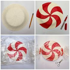 these peppermints are made out of paper plates and make adorable christmas home decorations click through for full tutorial