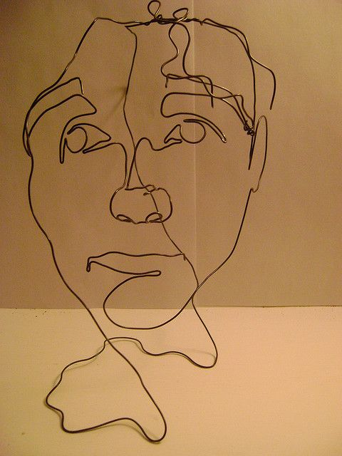 Blind Contour Line Drawing Face : Wire sculpture of my face contours art and portraits