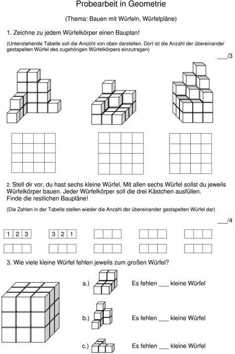 Klassenarbeit zu Würfelgebäude Arbeitsblatt Mathe Pinterest