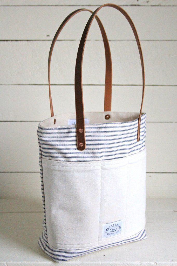 ed983b838 1950's era Ticking Fabric Pocket Tote Bag | Bags | Tote bag, Ticking ...