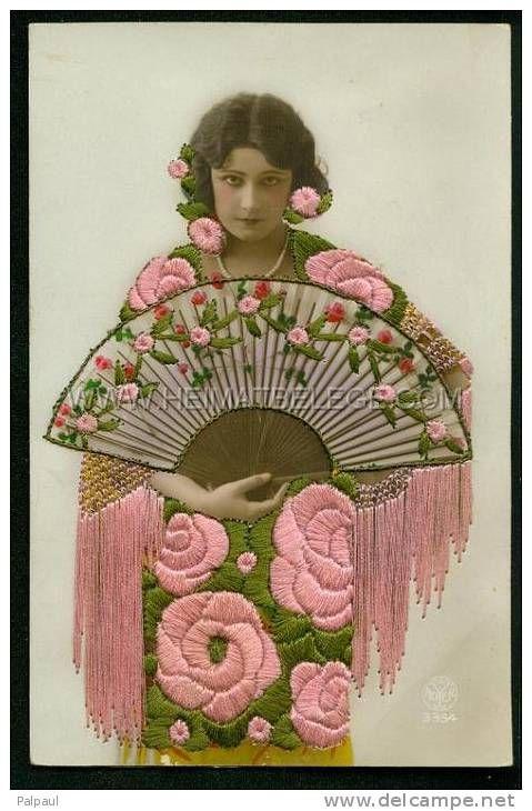 Fantaisie Brodee Femme eventail Fächer Fan Jugentstil Art nouveau Art deco Mode Fashion vogue A NOYER 3354; eine fantastisch erhaltene Postkarte