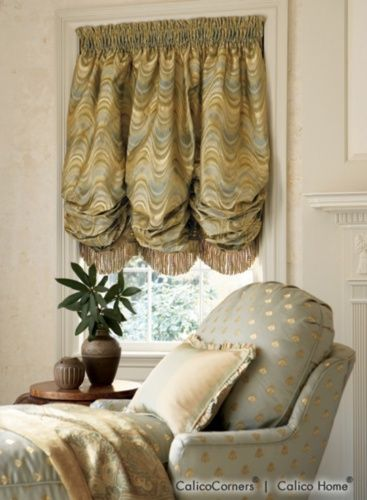 Smocked Balloon Shade In Valverde Green Shades