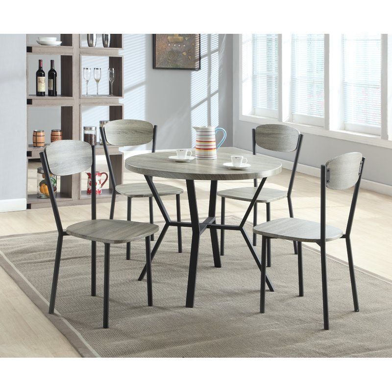 Millwood Pines Felicia 5 Piece Dining Set Reviews Wayfair Round Dining Table Sets Solid Wood Dining Set Dinette Sets