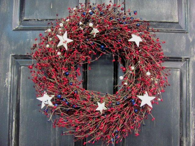 Americana Patriotic Wreath  Rustic Door Wreath  by Designawreath