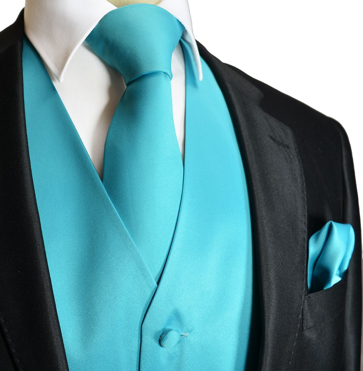 Solid Turquoise Tuxedo Vest Set (Q10-E) My honey would look so good ...