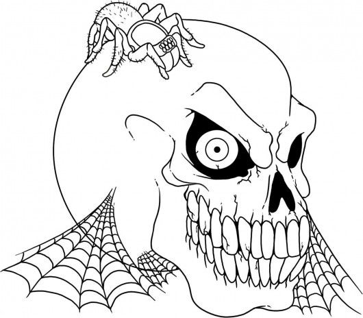Scary Halloween Skull And Spider Coloring Pages