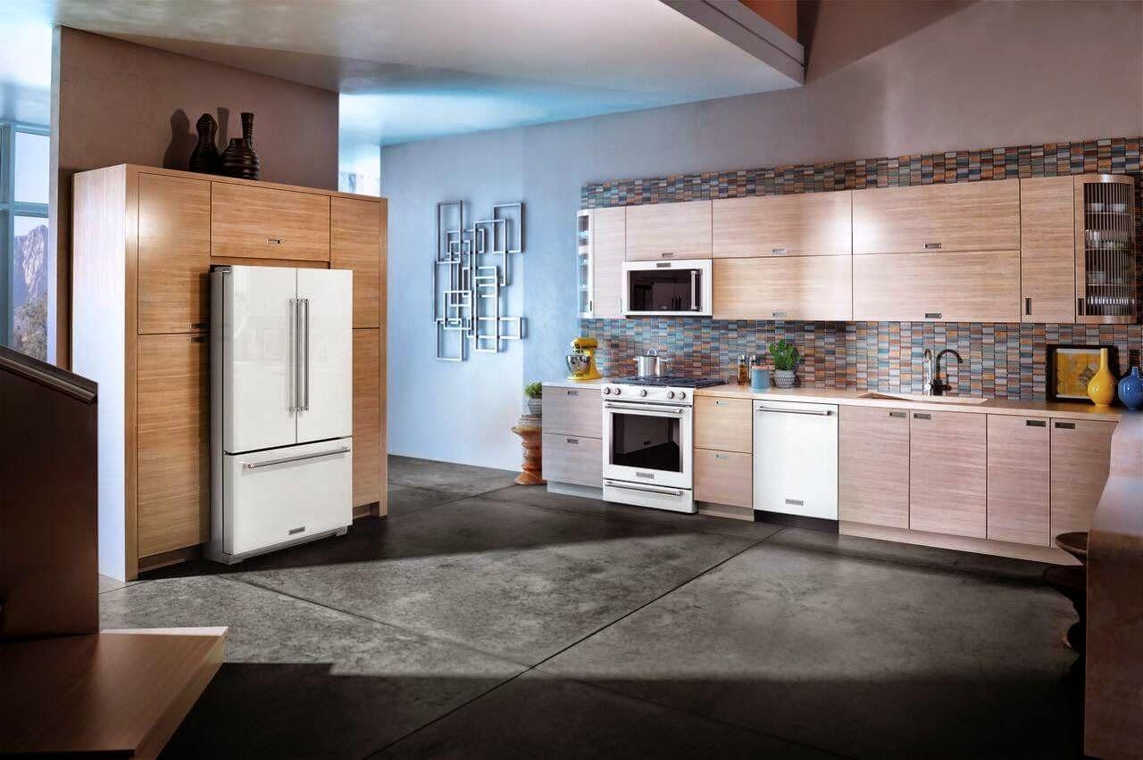 White Ice Kitchenaid Appliances Shown In Kitchen, Fridge, Stove, Hoodu2026