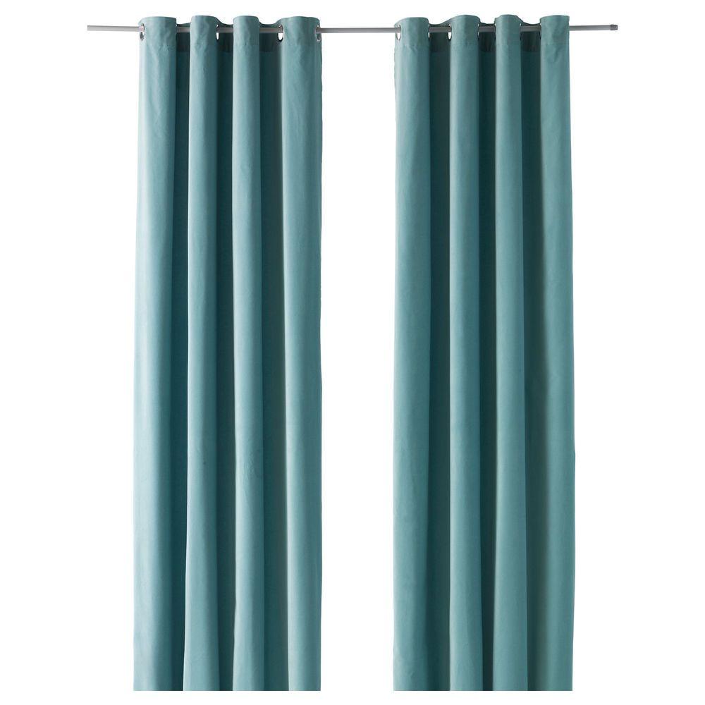 Ikea Sanela Light Turquoise 98 Pair Of Curtains Blackout Cotton Velvet 2 Panels Turquoise Curtains Turquoise Curtains Living Room Teal Curtains