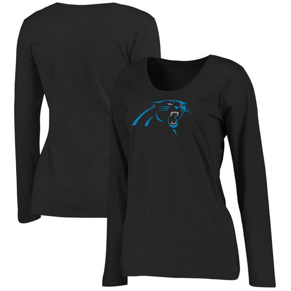 Carolina Panthers NFL Pro Line Women s Plus Size Primary Logo Long Sleeve T- Shirt - Black da3f42b72