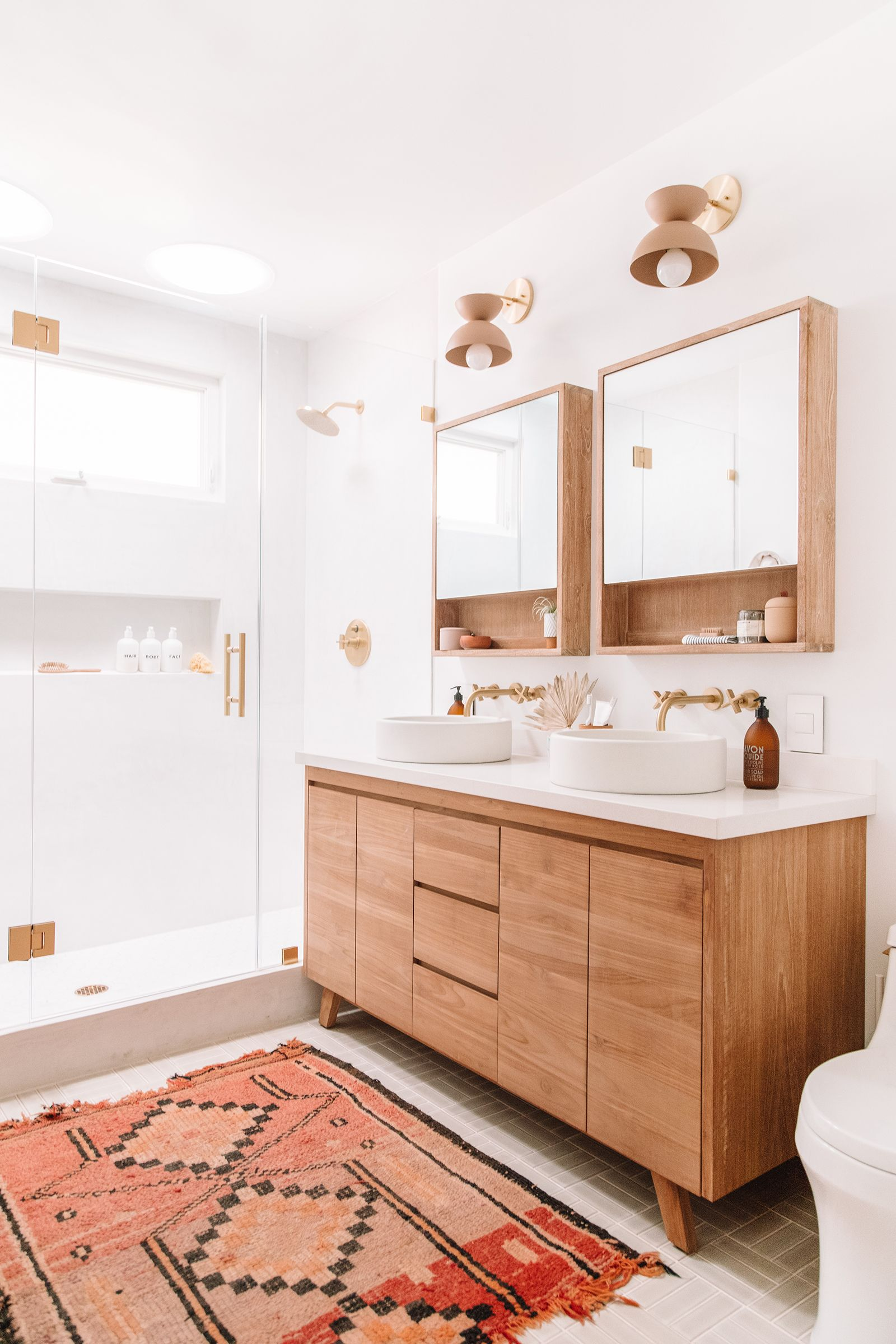 Three Things Striped Ceilings Mauve Marble A Beautiful Bathroom Makeover With Images Bathroom Storage Solutions Bathroom Makeover Bathroom Design