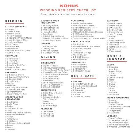 Kohls Wedding Registry Checklist Everything You Need To Create Your Love Nest Wedding Registry Checklist Best Wedding Registry Registry Checklist