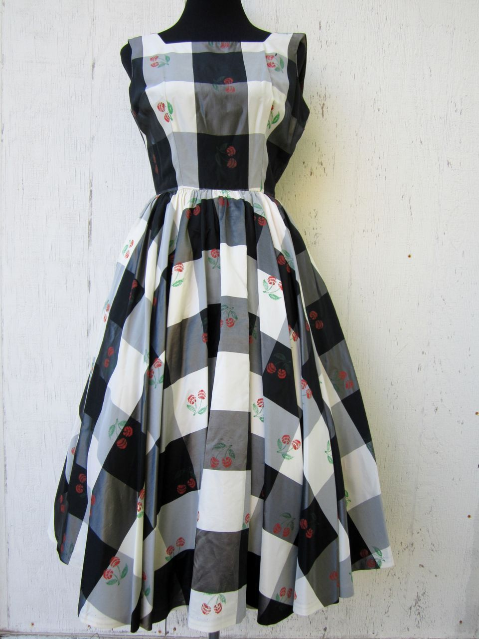 Vintage s s prom dress checkered with cherries xs donut get