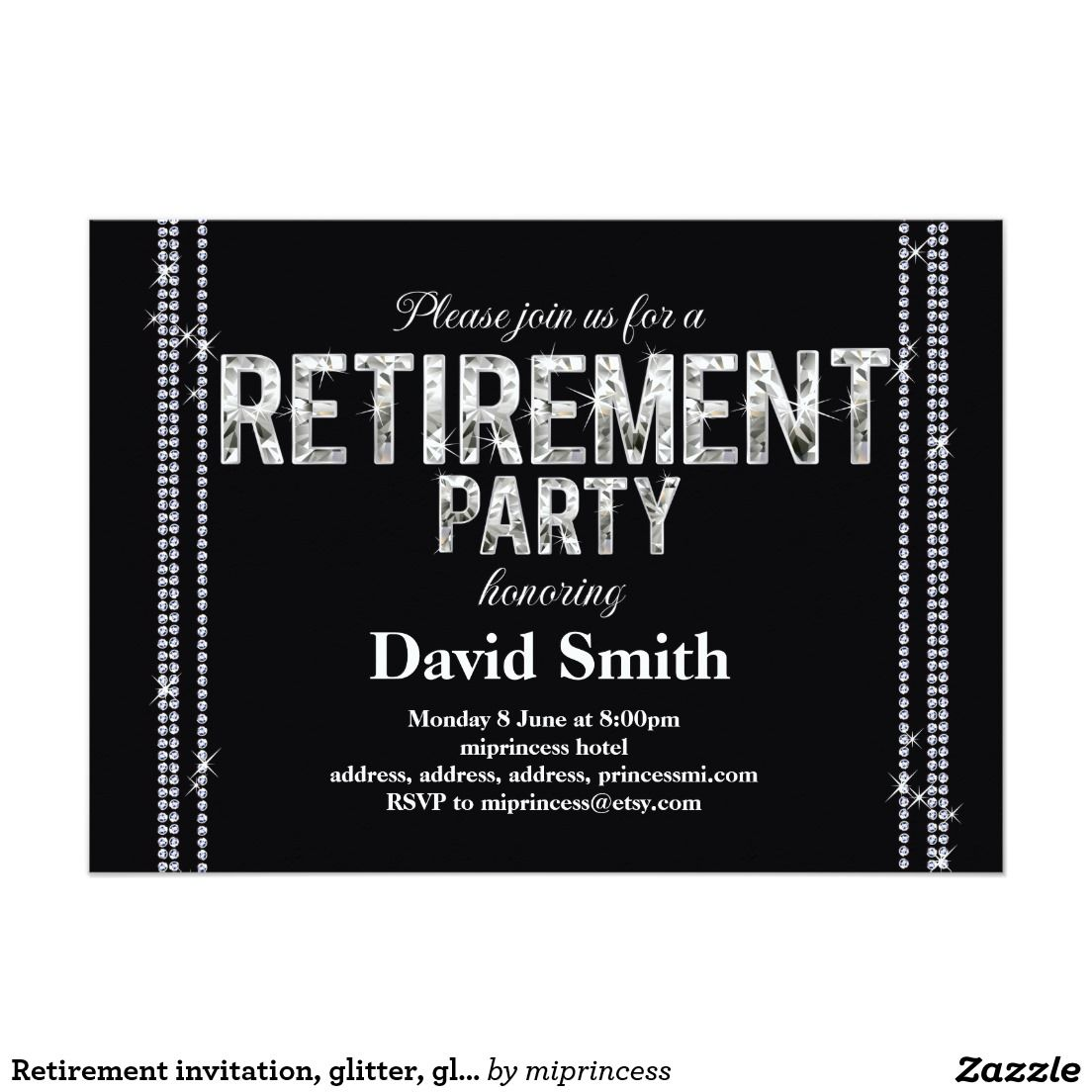 Retirement Invitation Glitter Glam Black  Invitation