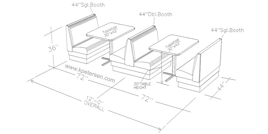 Upholstered Booth Layouts Typical Booth Dimensions Restaurant