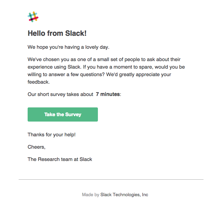 Slack Sent This Email With The Subject Line Help Us Improve Slack